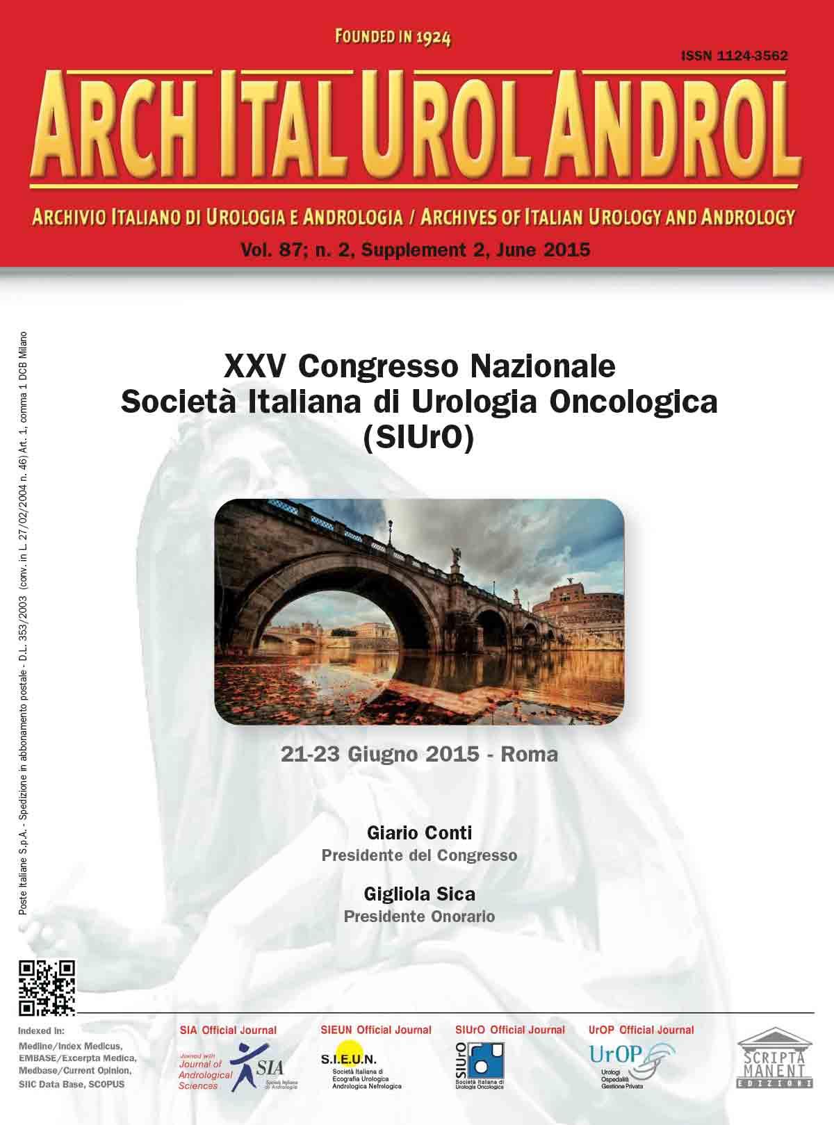 XXV Congresso Nazionale Societ Italiana Di Urologia Cologica SIUrO