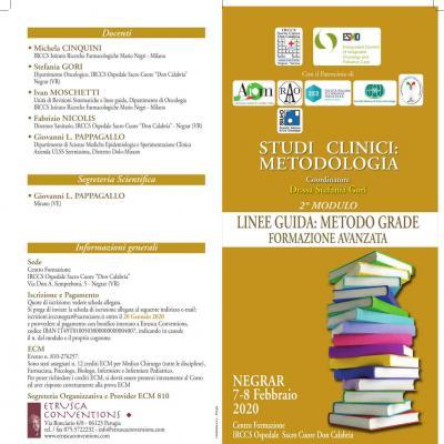 Studi clinici: metodologia - 2º modulo: linee guida, metodo grade, formazione avanzata