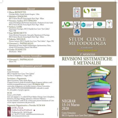 Studi clinici: metodologia - 3º modulo: revisione sistematiche e metanalisi