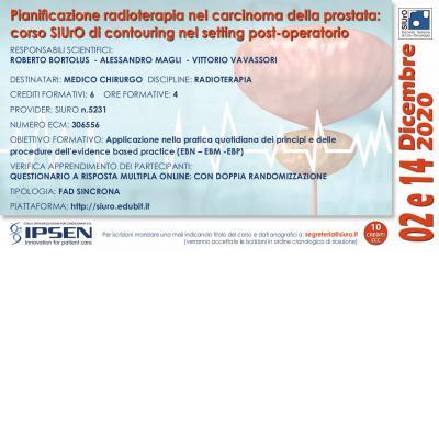 Pianificazione radioterapia nel carcinoma della prostata: corso SIUrO di contouring nel setting post-operatorio