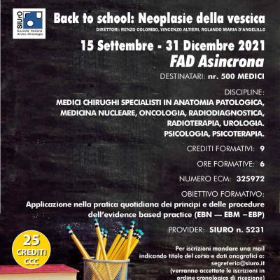 Back to school 2021: Neoplasie della vescica