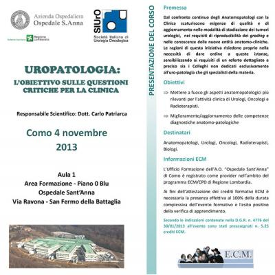 Uropatologia: l'obiettivo sulle questioni critiche per la clinica - POSTI ESAURITI