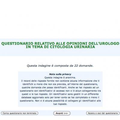 Questionario relativo alle opinioni dell'urologo in tema di citologia urinaria